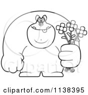 Cartoon Clipart Of An Outlined Buff Pig Holding Flowers Black And White Vector Coloring Page