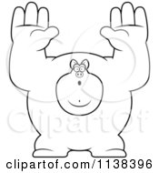 Cartoon Clipart Of An Outlined Buff Pig Giving Up Black And White Vector Coloring Page