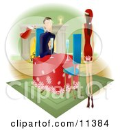 Man Watching His Wife Or Girlfriend As She Walks Towards Him With A Gift Behind Her Back by AtStockIllustration
