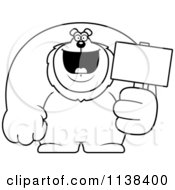 Cartoon Clipart Of An Outlined Buff Lion Holding A Sign 2 Black And White Vector Coloring Page