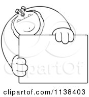 Cartoon Clipart Of An Outlined Buff Lion Holding A Sign 1 Black And White Vector Coloring Page