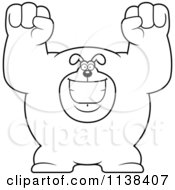 Cartoon Clipart Of An Outlined Excited Buff Dog Cheering Black And White Vector Coloring Page