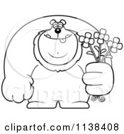 Cartoon Clipart Of An Outlined Buff Lion Holding Flowers Black And White Vector Coloring Page
