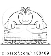 Cartoon Clipart Of An Outlined Buff Dog Behind A Wooden Sign Black And White Vector Coloring Page