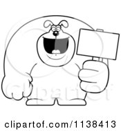Cartoon Clipart Of An Outlined Buff Dog Holding A Sign 2 Black And White Vector Coloring Page