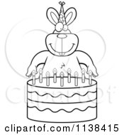 Cartoon Clipart Of An Outlined Rabbit Making A Wish Over Candles On A Birthday Cake Black And White Vector Coloring Page