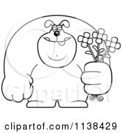Cartoon Clipart Of An Outlined Buff Dog Holding Flowers Black And White Vector Coloring Page by Cory Thoman
