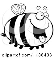 Cartoon Clipart Of An Outlined Chubby Hungry Bee Black And White Vector Coloring Page