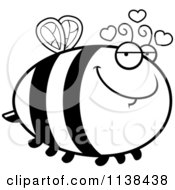 Cartoon Clipart Of An Outlined Chubby Amorous Bee Black And White Vector Coloring Page