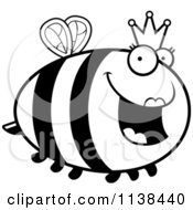Cartoon Clipart Of An Outlined Chubby Queen Bee Black And White Vector Coloring Page by Cory Thoman