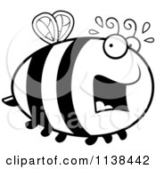 Cartoon Clipart Of An Outlined Chubby Scared Bee Black And White Vector Coloring Page