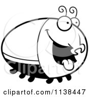 Cartoon Clipart Of An Outlined Hungry Beetle Black And White Vector Coloring Page