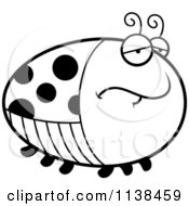 Cartoon Clipart Of An Outlined Chubby Depressed Ladybug Black And White Vector Coloring Page
