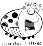 Cartoon Clipart Of An Outlined Chubby Scared Ladybug Black And White Vector Coloring Page