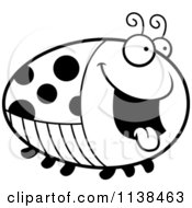 Cartoon Clipart Of An Outlined Chubby Hungry Ladybug Black And White Vector Coloring Page