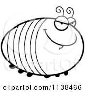 Cartoon Clipart Of An Outlined Chubby Sly Grub Black And White Vector Coloring Page
