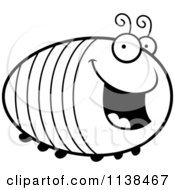 Cartoon Clipart Of An Outlined Chubby Happy Grub Black And White Vector Coloring Page