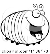 Cartoon Clipart Of An Outlined Chubby Hungry Grub Black And White Vector Coloring Page