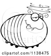 Cartoon Clipart Of An Outlined Chubby Drunk Grub Black And White Vector Coloring Page