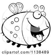 Cartoon Clipart Of An Outlined Chubby Hungry Fly Black And White Vector Coloring Page
