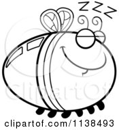 Cartoon Clipart Of An Outlined Sleeping Firefly Lightning Bug Black And White Vector Coloring Page by Cory Thoman