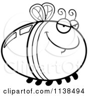 Cartoon Clipart Of An Outlined Sly Firefly Lightning Bug Black And White Vector Coloring Page by Cory Thoman