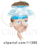Man With A Storm In His Head Clipart Illustration by AtStockIllustration
