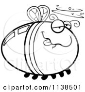 Cartoon Clipart Of An Outlined Drunk Firefly Lightning Bug Black And White Vector Coloring Page by Cory Thoman