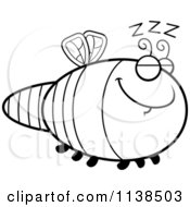 Cartoon Clipart Of An Outlined Sleeping Dragonfly Black And White Vector Coloring Page