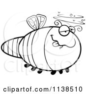 Cartoon Clipart Of An Outlined Drunk Dragonfly Black And White Vector Coloring Page
