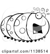 Cartoon Clipart Of An Outlined Scared Caterpillar Black And White Vector Coloring Page by Cory Thoman