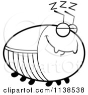 Cartoon Clipart Of An Outlined Chubby Sleeping Cockroach Black And White Vector Coloring Page by Cory Thoman
