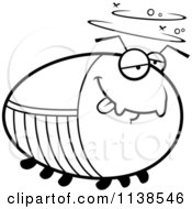 Cartoon Clipart Of An Outlined Chubby Drunk Cockroach Black And White Vector Coloring Page by Cory Thoman
