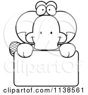 Cartoon Clipart Of An Outlined Cute Happy Platypus Over A Sign Black And White Vector Coloring Page