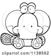 Cartoon Clipart Of An Outlined Cute Sitting Platypus Black And White Vector Coloring Page