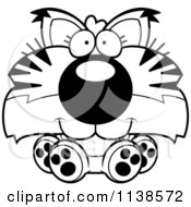 Cartoon Clipart Of An Outlined Cute Sitting Bobcat Cub Black And White Vector Coloring Page