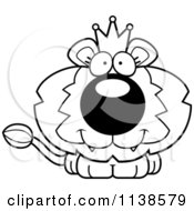 Cartoon Clipart Of An Outlined Cute Happy King Lion Cub Black And White Vector Coloring Page