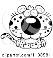 Cartoon Clipart Of An Outlined Cute Happy Leopard Cub Black And White Vector Coloring Page