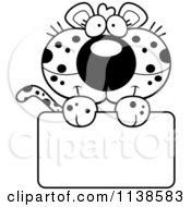 Cartoon Clipart Of An Outlined Cute Leopard Cub Over A Sign Black And White Vector Coloring Page