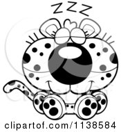 Cartoon Clipart Of An Outlined Cute Sleeping Leopard Cub Black And White Vector Coloring Page