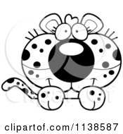 Cartoon Clipart Of An Outlined Cute Leopard Cub Hanging Over A Sign Black And White Vector Coloring Page