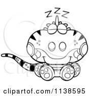 Cartoon Clipart Of An Outlined Cute Sleeping Iguana Lizard Black And White Vector Coloring Page
