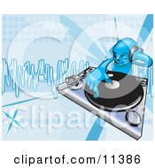 DJ Mixing Records On A Turntable Clipart Illustration