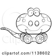 Cartoon Clipart Of An Outlined Cute Sitting Gecko Lizard Black And White Vector Coloring Page