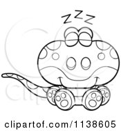 Cartoon Clipart Of An Outlined Cute Sleeping Gecko Lizard Black And White Vector Coloring Page