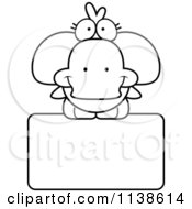 Cartoon Clipart Of An Outlined Cute Duck On A Sign Black And White Vector Coloring Page by Cory Thoman