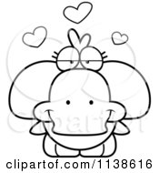 Cartoon Clipart Of An Outlined Cute Amorous Duck Black And White Vector Coloring Page by Cory Thoman