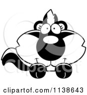 Cartoon Clipart Of An Outlined Cute Baby Skunk Hanging Over A Sign Black And White Vector Coloring Page