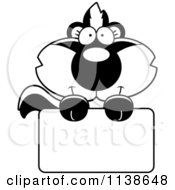 Cartoon Clipart Of An Outlined Cute Baby Skunk Over A Sign Black And White Vector Coloring Page