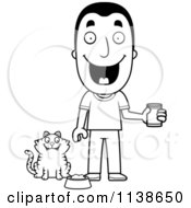 Cartoon Clipart Of An Outlined Happy Man Feeding His Cat Black And White Vector Coloring Page